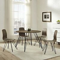 Mid-Century Modern Walnut Laminate Round Dining Table With Metal Hairpin Legs