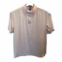 FootJoy FJ Mens Polo Golf Shirt Pink Striped Large Short Sleeve