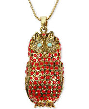 Lucky BRAND Red Bead Owl Pendant Gold-tone Long Necklace Jlru9191
