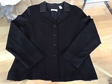 Jacket DANA Buchman black leather collar designer size 14 excellent condition