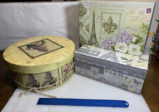DECORATIVE STORAGE BOXES AND A HAT BOX FOR HAT OR STORAGE