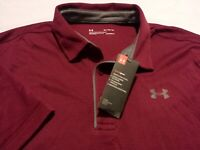 NWT Under Armour Mens XL Short Sleeve Solid Red Athletic Polo Golf Shirt New