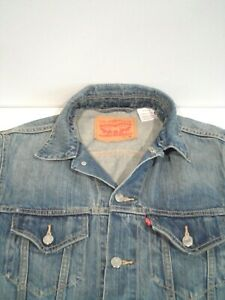 Levi's Men's Denim Jacket Size Medium Blue Distressed Metal Button Up Pocket Top