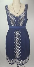Anthropologie Camilla Dress Blue line Embroidered Edme & Esyllte Size M