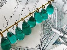 Vintage Teal Glass Drops,Glass Charms,Teardrops, Drop Dangles,Green Beads, #1715