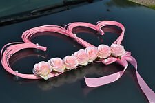 wedding car decoration,ribbon, bows, prom limousine decoration, HEARTS pink/pink