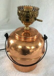 Copper Jug Style Table Lamp with black handle and turn key switch - EXC