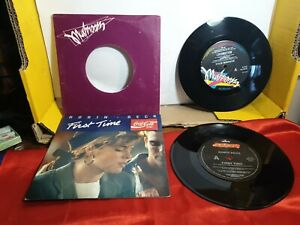 single vinyl records x2 kylie minogue & robin beck with coke motiff scratches