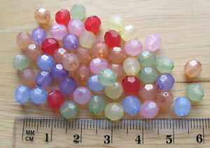 """150 6mm """"opal"""" translucent round faceted acrylic plastic beads choose colour"""