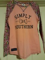 Simply Southern Bow Floral Long Sleeve Raglan Shirt Top Pink Floral Size (S)