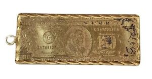 14k Yellow Gold Mini $100 Bill Charm with Incredible Detailing