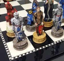 Medieval Times KING ARTHUR CAMELOT Knight Chess Set W/ Black & White Gloss Board