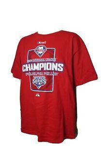 Philadelphia Phillies Red Tee Shirt 2009 World Series NWOT MLB Majestic Mens XL