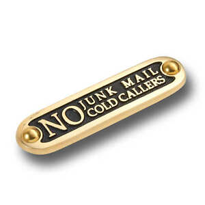 No Junk Mail Or Cold Callers Brass Door Sign. Traditional Home Décor Wall Plaque