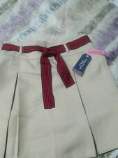 Nautica Girls Khaki School Uniform 7 Regular Pleats And Belt New With Tags
