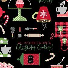 Christmas Baking Fabric, BTY, Maywood Studio, Black, 9670M-J, TheFabricEdge