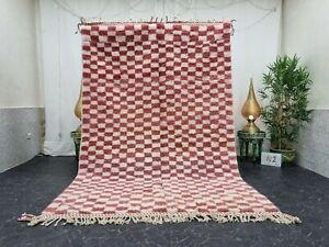Moroccan Handmade Beni Ourain Rug 6'x9' Berber Checkered White Peach Wool Rug