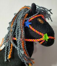 "GROOVY GIRLS RAGG CHICKS 2003 BLACK & PINK PONY HORSE PLUSH 12"" STUFFED ANIMAL"