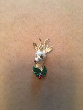 Vintage Gerry's Signed Gold Tone Rudolph With Holly Brooch Pin