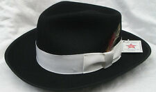 New Men's Black Zoot Hat with Feather Fedora Church Gangster XL(7 5/8 - 7 3/4)