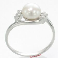 925 Solid Sterling Silver White Cultured Pearl w/ Cubic Zirconia Ring - TPJ