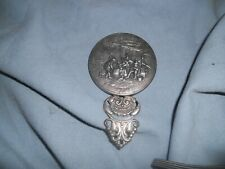Unusual Victorian Pewter Hand Mirror Purse Mirror 4 Inches Long