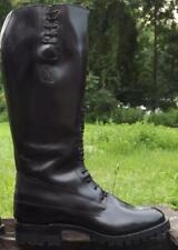 Men's Leather Police Motorcycle Boot with front Laces, Good Year Welted, UK 5-12