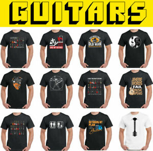 GUITAR T-SHIRT Mens Acoustic Electric Bass Amp Funny Rock Music Band Unisex Top