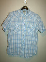 Mens LUCKY BRAND Blue Short Sleeve Embroidered Pearl Snap Western Shirt Large L