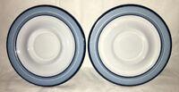 Set of 2 (TWO) Arita Genesis Blue Japan Stoneware Saucers VTG 5244 MINT