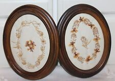 2 Vintage Oval Wood Picture Frame w/ Dried Flowers