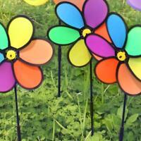 Rainbow Flower Wind Spinner Windmill Yard Lawn Garden Decor Colorful Outdoor