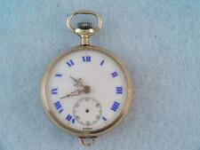 ANTIQUE SWISS SOLID 14K GOLD POCKET WATCH BLUE ROMAN NUMBERS LOOK $9.99