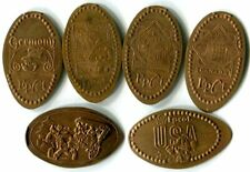 Epcot World Showcase Collection Of Six Copper Pressed Pennies - Mickey, Goofy