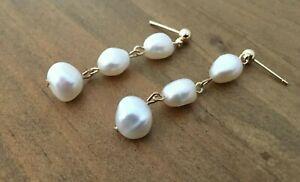Handmade Baroque Freshwater Pearl Drop Gold Earrings Wedding Bridesmaid Earrings