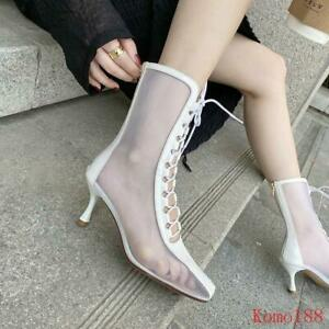 Womens leather Stiletto Heels Breathable Pumps lace up back zipper Ankle Boots