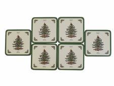 SET OF 6 SPODE CHRISTMAS TREE DESIGN CORK BACKED COASTERS 10.5 X 10.5 X .6CM