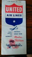 United Airlines April 1950  Timetable- DC-6 Mainliner, Fares and More- 15 pages-