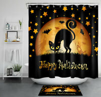 "71"" Happy Halloween Shower Curtain Moon Stars Black Cat Bathroom Accessory Sets"
