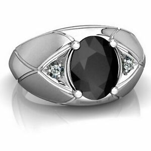 Natural Black Onyx Gemstone With 925 Sterling Silver Ring For Men's #AB40
