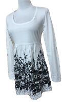 Street One Tunika Shirt Langarm Rückenbandeau Weiß Gr.38 Unten Weit Blumen