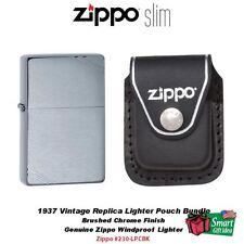 Zippo 1937 Vintage Replica w/ Slashes Lighter, Black Lther Clip Pouch #230-LPCBK