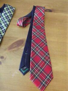 TOMMY HILFIGER 100% silk NECK TIE red tartan plaid MINT CONDITION