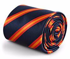 Bleu Marine, Rouge et Orange à Rayures Cravate par Frederick Thomas FT3249