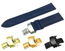 Navy Leather Croco Strap/Band fit Vacheron Constantin Watch Clasp 18 19 20 22mm