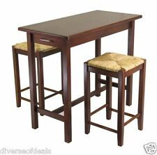 New listing Bar Table Set With 2 Seat Stools Nook Dining Wood Space Saver Contemporary