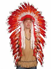 Coiffe chef indien plumes rouges et blanches accessoires de deguisement theatre