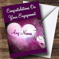 Corazón púrpura Personalizados Compromiso tarjeta de saludos