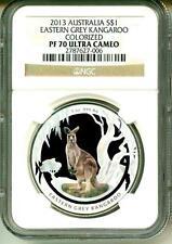 2013 S$1 Australia Kangaroo Eastern Grey Kangaroo Colorized NGC PF70 Ultra Cameo