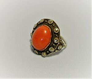 Großer 800 Silber Damen Ring Rote Koralle Korallenring Art Deco 7 g um 1930 RAR